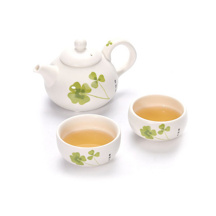 幸运草便携式茶具套装一壶两杯旅行茶具 功夫茶茶具套装