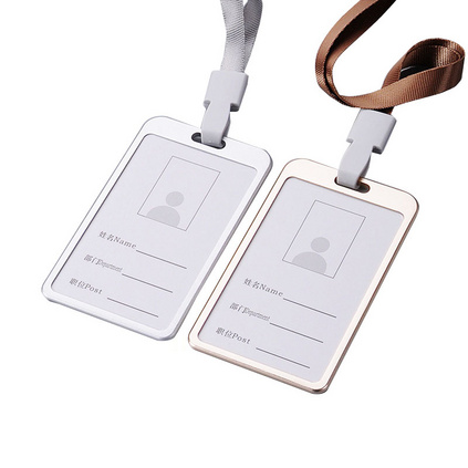 高?#21040;?#23646;铝合金胸牌卡套 铝合金工牌卡套挂绳 员工证胸牌展会工作证