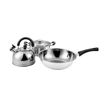 德國Debo德鉑萊比錫之戀不銹鋼三件套炒鍋湯鍋鳴笛水壺3L 20cm/32cm