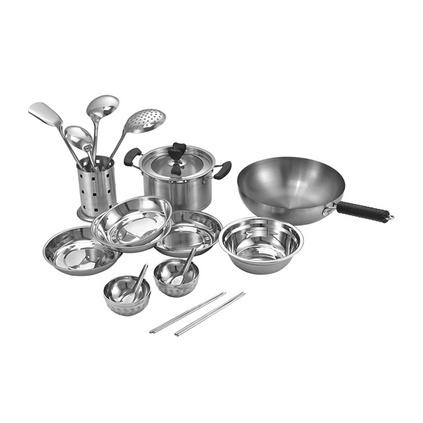 德國Debo德鉑拉斯芬堡套裝鍋具十八件套不銹鋼炒鍋湯鍋餐具碗筷勺
