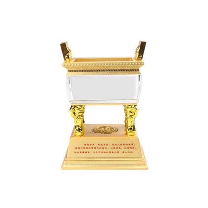 高档水晶诚信金鼎室内高档摆件中式摆件水晶工艺品