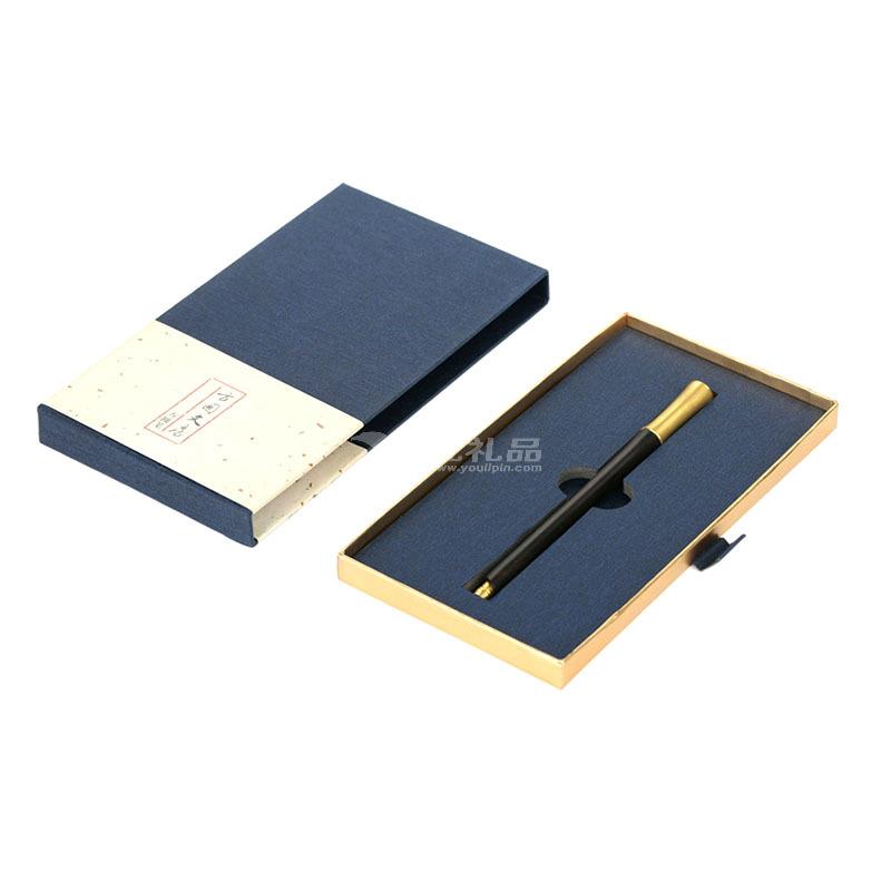 胸有成竹签字笔紫光檀黄铜笔红木礼品笔三菱笔芯