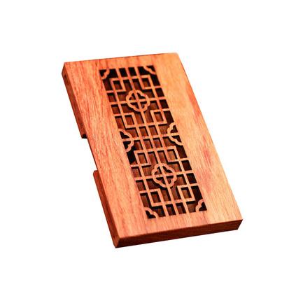 中国风镂空花梨木名片盒 缅甸花梨木名片夹红木名片盒