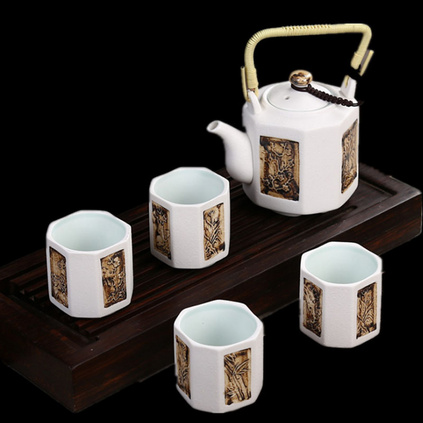 梅蘭竹菊提梁壺功夫茶具套裝茶壺茶杯