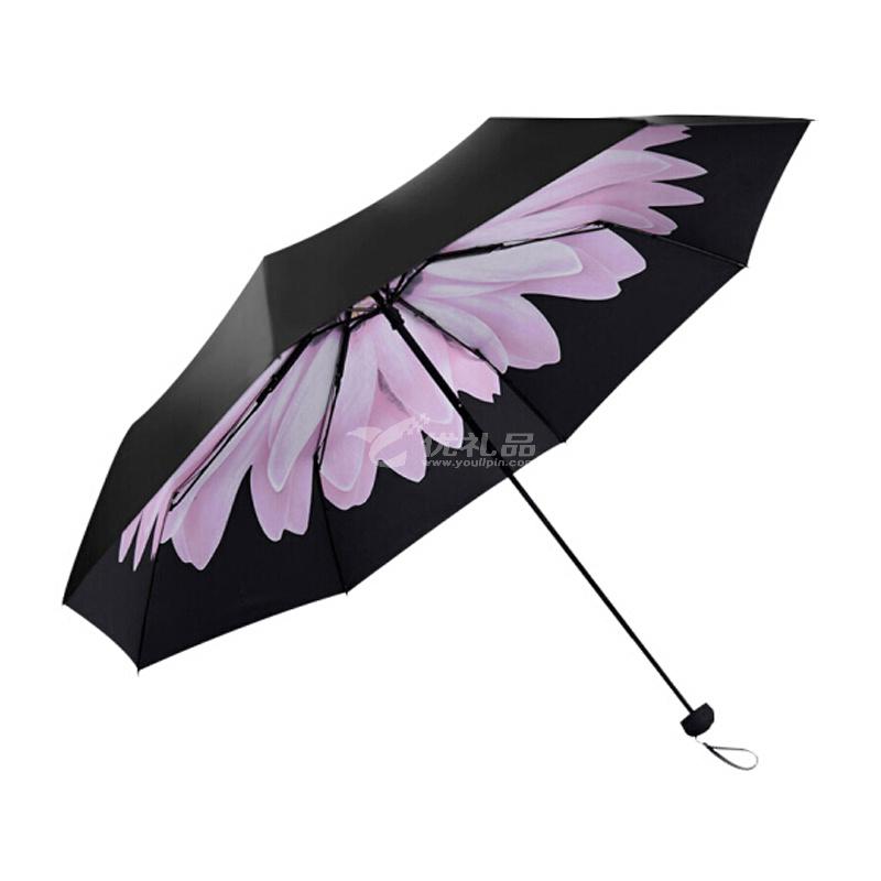 天堂伞黑胶遮阳伞防紫外线创意太阳伞折叠晴雨伞防晒小黑伞