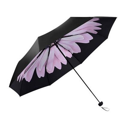 天堂傘黑膠遮陽傘防紫外線創意太陽傘折疊晴雨傘防曬小黑傘