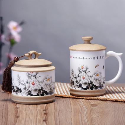 玉映砂臺面杯茶葉罐榮華富貴兩件套 中國風禮品陶瓷茶葉罐杯子套裝