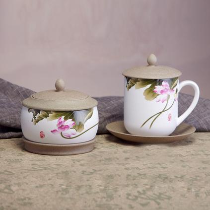 玉映砂會議杯茶葉罐兩件套--和衷共濟 中國風陶瓷杯茶葉罐禮品套裝