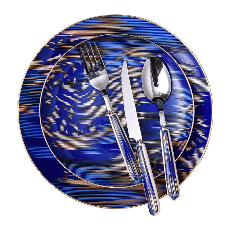 浮雕金西餐具餐盘杯子刀叉勺礼盒装