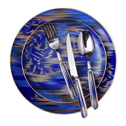 浮雕金西餐具餐盤杯子刀叉勺禮盒裝