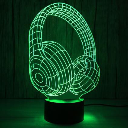 新款头戴式炫酷耳机led节能灯USB供电七彩渐变小夜灯