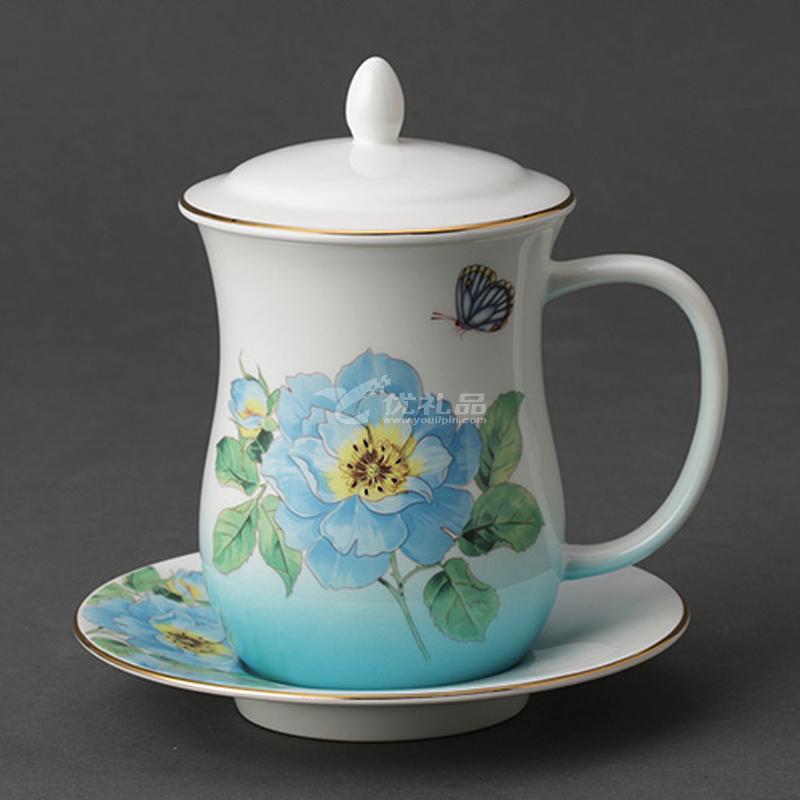 Auratic國瓷永豐源漸變變藍骨瓷茶杯陶瓷帶蓋杯套水杯中國風杯子