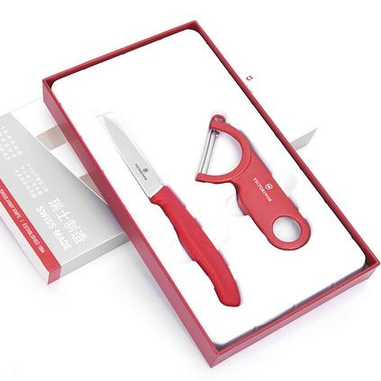 维氏瑞士军刀 尖头波浪刃水果刀 削皮器 礼盒套装 原装进口厨房小工具