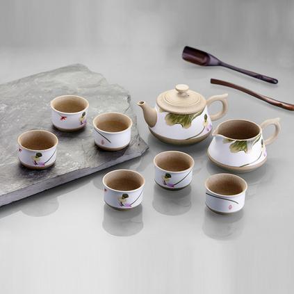 玉映砂茶具八件套--和衷?#24067;?陶瓷茶盘功夫茶具套装