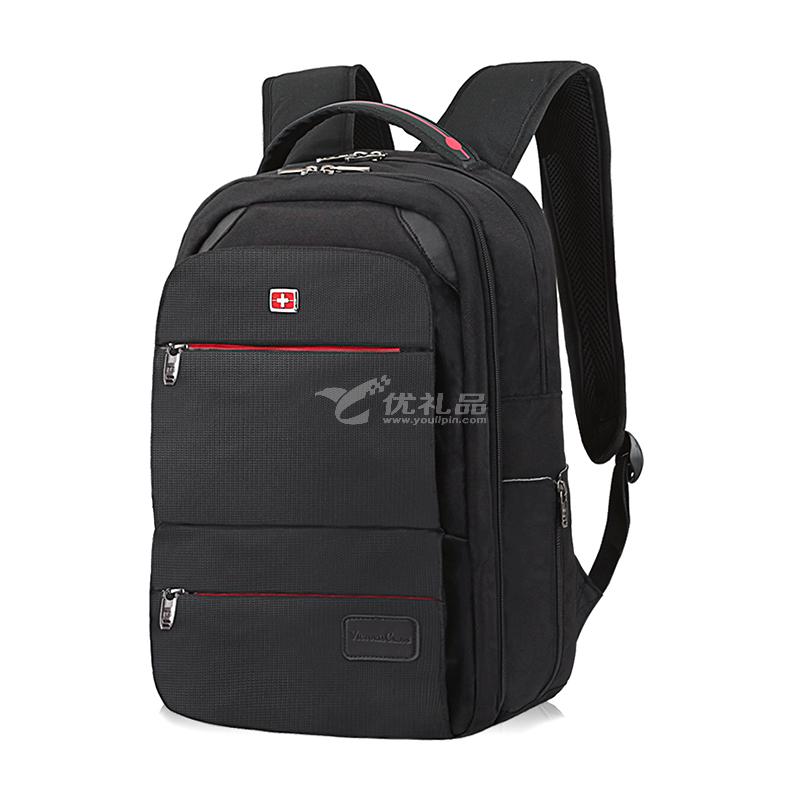 维士十字商务双肩包男士 书包中学生15.6英寸电脑包 休闲背包旅行包 黑色