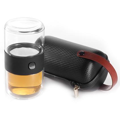 π杯套装 哲品ZENS哲品家居 π杯玻璃水杯快客杯 户外旅行茶杯便携包旅游派杯整套喝茶套装