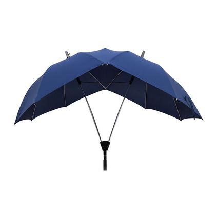 雙桿長柄直桿雨傘創意雙人情侶傘雨中情母子傘廣告傘