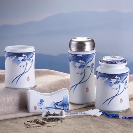 青花啞光保溫杯五件套 陶瓷辦公套裝 高檔會議保溫杯筆筒茶葉罐名片座套裝