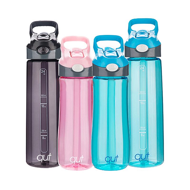 庫特/qut 美國進口Tritan材質便攜水杯男女情侶塑料防漏水杯700ML夏季學生兒童戶外水壺