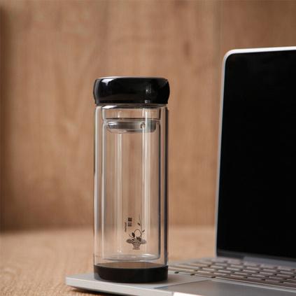 耐熱雙層玻璃杯定做茶杯水杯帶茶隔可定制logo印字廣告禮品杯300ml