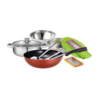 德国Debo德铂格斯特套装锅不锈钢炒锅汤锅水盆锅铲厨房烹饪小工具九件套厨具定制