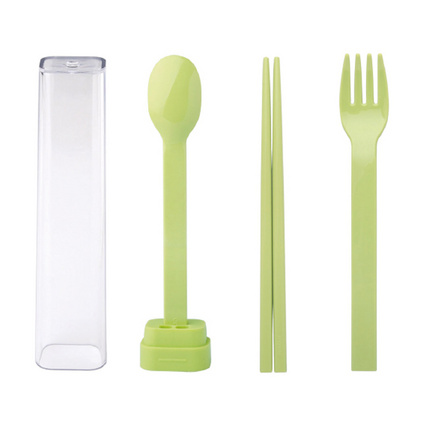 emoi基本生活 便携?#20132;?#20445;餐具套装 叉勺子筷子三件套 旅行盒H0203 餐具三件套定制