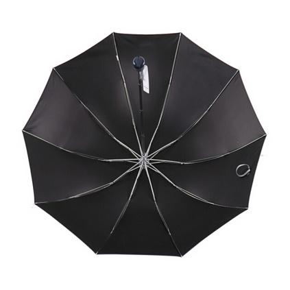 天堂伞 33188E 加大加固黑胶三折钢杆钢骨商务晴雨伞太阳伞定制