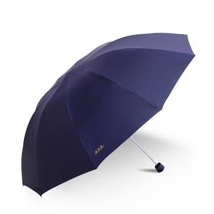 天堂伞 33188E 加大加固黑胶三折钢杆钢骨商务晴雨伞太阳伞亚博体育app下载地址