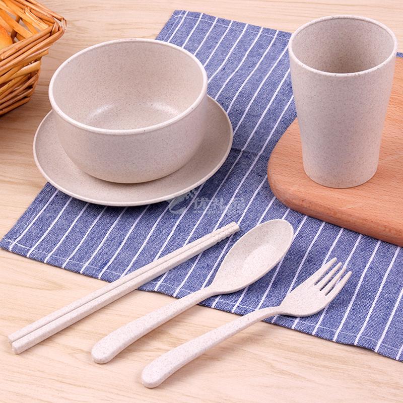 天然可降解小麥秸稈餐具套裝 麥纖維泡面碗漱口杯菜盤勺叉筷六件套創意禮品定制