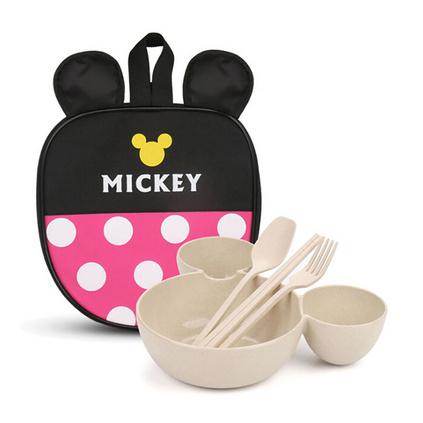 卡通兒童禮品餐具套裝 小麥大頭米奇碗兒童碗水果盤布袋米奇餐具創意個性定制