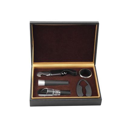 高檔皮盒紅酒酒具套裝開瓶器五件套中秋紅酒禮品酒具套裝定制