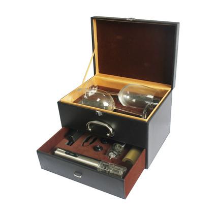红酒杯电动开瓶器双层皮盒套装高端商务礼品酒具套装定制