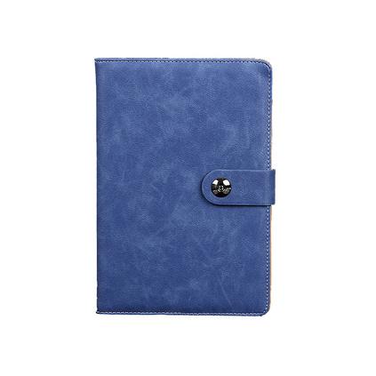 蠟皮紋平裝PU仿皮帶礠扣筆記本 商務會議記事本定制