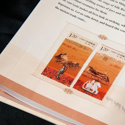 絲綢彩印版《絲綢之路》套裝珍藏郵票冊一帶一路絲綢畫定制