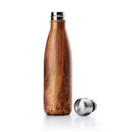 新款礼品创意不锈钢可乐瓶保温杯木纹礼品水杯定制