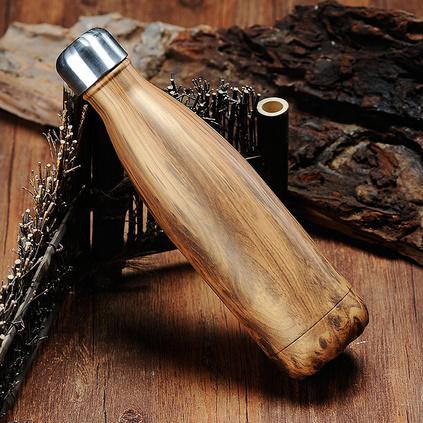新款禮品創意不銹鋼可樂瓶保溫杯木紋禮品水杯定制