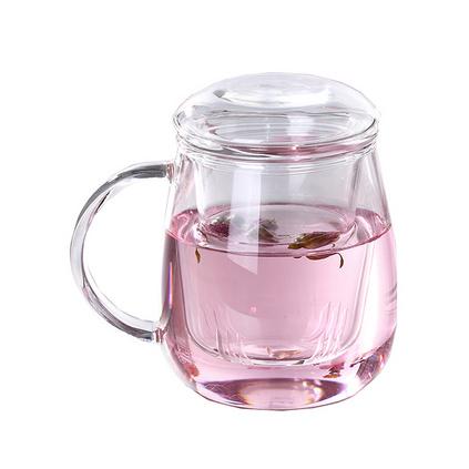 高硼硅耐熱玻璃杯 大蘑菇帶蓋過濾辦公茶杯定制