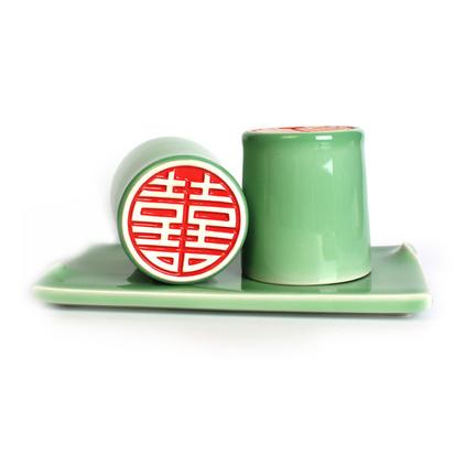 龙泉青瓷手工雕刻带底座喜庆陶瓷情侣对杯结婚礼物定制