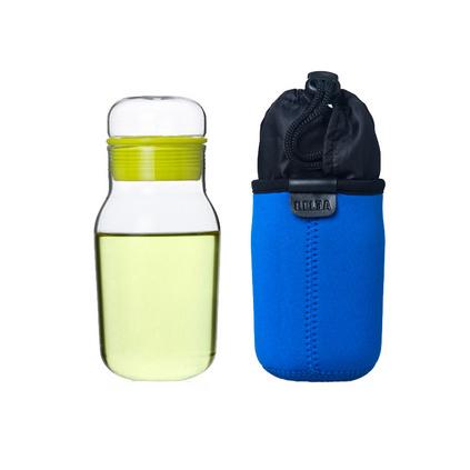 夏天便攜防漏瓶耐熱帶蓋玻璃杯便攜防漏檸檬杯子瓶水杯帶蓋茶杯定制