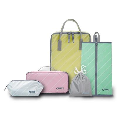 CHOOCI馬卡龍清新旅行收納五件套女士 洗漱化妝內衣鞋袋 防水收納包定制