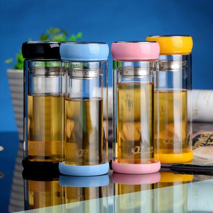雙層密封隔熱帶蓋玻璃杯 時尚情侶杯禮品廣告杯定制