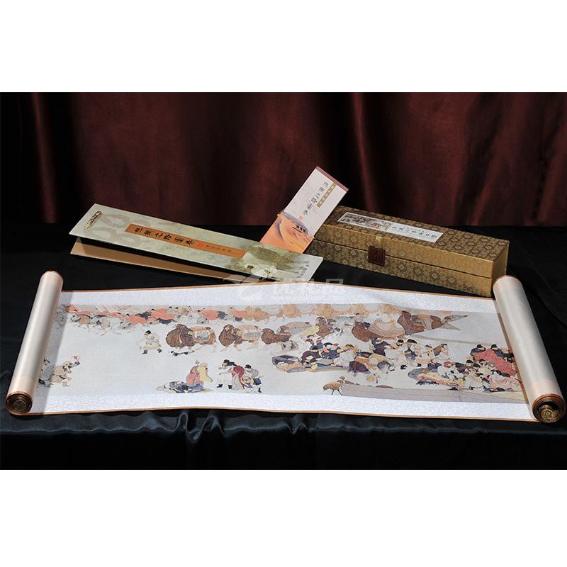 真絲織錦陸上《絲綢之路》長卷一帶一路絲綢畫中國風禮品定制