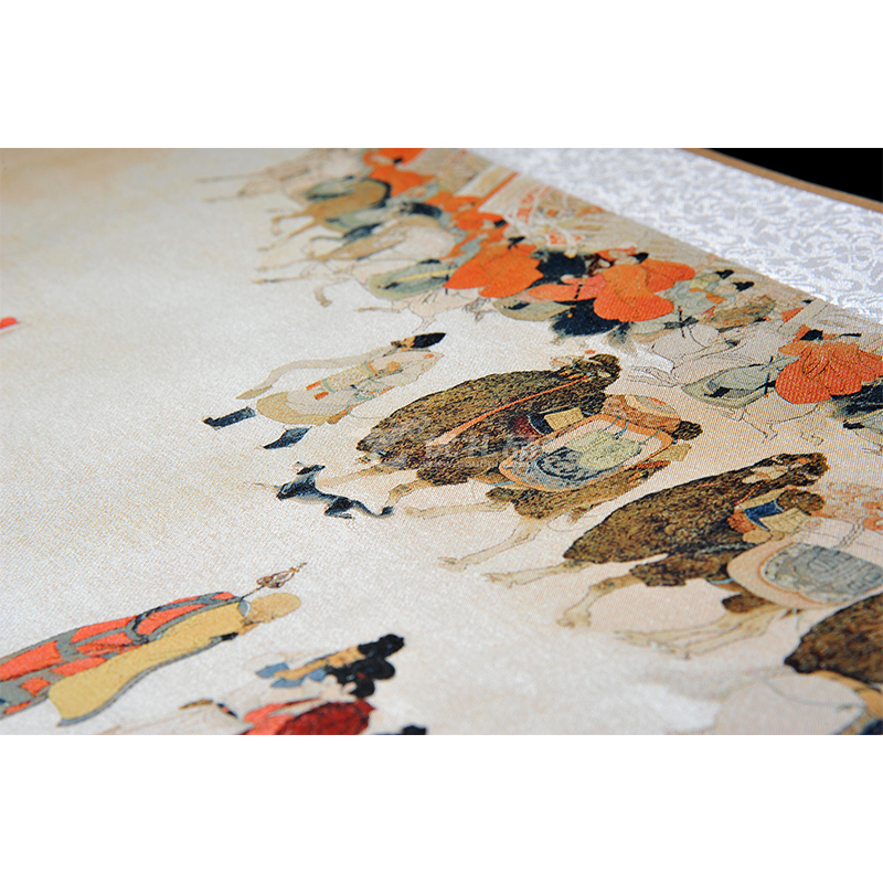 真丝织锦陆上《丝绸之路》长卷一带一路丝绸画中国风礼品定制
