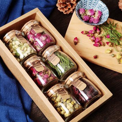 玫瑰花茶菊花茶茉莉花茶洛神花茶组合花草养生茶6瓶礼盒装伴手礼定制
