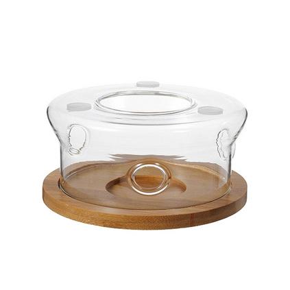 耐熱玻璃花茶壺蠟燭加熱底座竹木圓形組合茶爐 定制