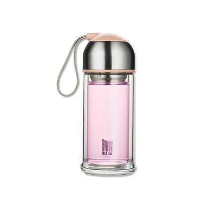 創意帶蓋便攜過濾泡茶杯隨手杯雙層coco玻璃杯禮品定制