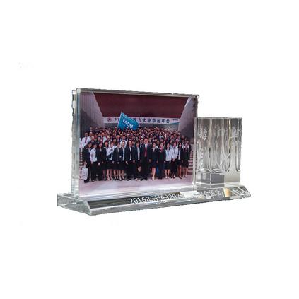 同學聚會紀念品水晶相框筆筒刻字創意實用畢業送老師的禮物6寸定制