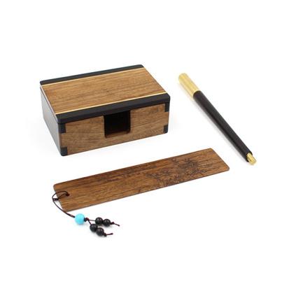 超然簽字筆、超然筆筒、金絲楠書簽三件套商務禮品套裝定制