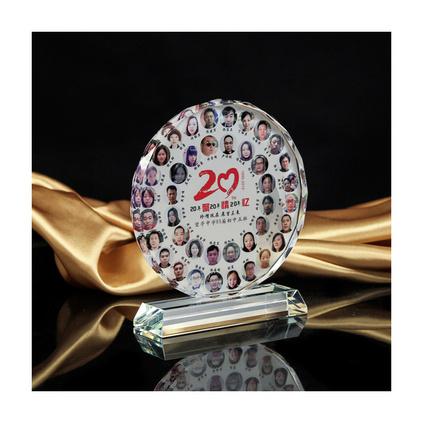 創意大頭貼水晶獎牌太陽花水晶相片擺臺禮品 13.5cm相框創意DIY同學聚會紀念品定制