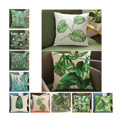 新款熱帶植物綠葉子印花抱枕家居裝飾棉麻靠墊定制